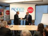 Nelle foto da sinistra a destra Luca Sprea, presidente di Sprea Editori, e Antonino La Spina, presidente dell'Unpli.